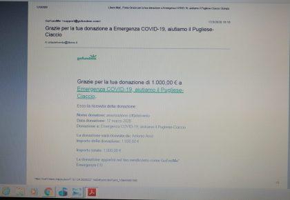 Coronavirus: Città del Vento contribuisce a una raccolta fondi a favore dell'ospedale Pugliese-Ciaccio